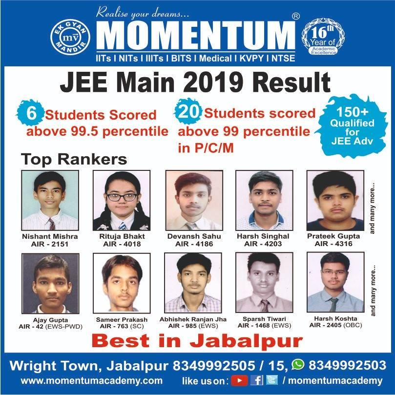MOMENTUM - JEE MAIN 2019 RESULT