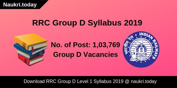 RRC Group D Level-1 Syllabus 2019